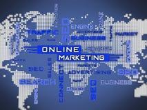 Online-Marketings-Kreuzworträtsel mit Weltkartehintergrund Abbildung 3D Stockfoto