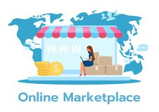 Free Online Marketplace Flat Vector Illustration Royalty Free Stock Images - 178869459