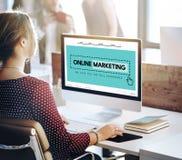 Online-marknadsföra Homepage-WebsiteDigital begrepp royaltyfria foton
