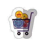 Online-marknadsföring och shopping royaltyfri illustrationer