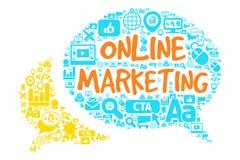 Online-marknadsföringsbegrepp Stock Illustrationer
