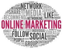 Online-marknadsföringsbegrepp i ordetikettsmoln Arkivfoto