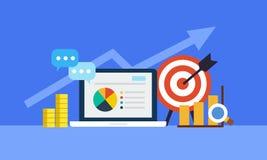 Online-marknadsföringsbegrepp Strategi och rapport av online-shopping eller online-aktionen vektor illustrationer
