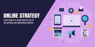 Online-marknadsföringsstrategi, digitalt brännmärka, affär, innehåll, seo, socialt massmedia, analytics, rengöringsdukbefordranbe stock illustrationer