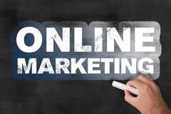 Online-marknadsföringssvart tavla Arkivbilder