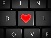 Online matchmaking. Concept with a heart in the middle of f-i-n-d-l-o-v-e keys Stock Photos