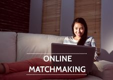 Online Matchmaking text and woman on couch with laptop. Digital composite of Online Matchmaking text and woman on couch with laptop Stock Images