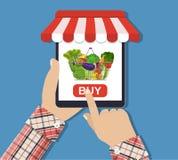 Online-matshopping, smartphone Arkivbild
