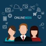 Online Media ontwerp vector illustratie