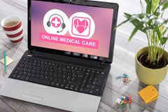 Online medical care concept on a laptop royalty free stock photo