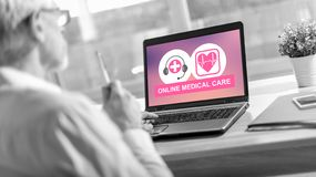 Online medical care concept on a laptop screen royalty free stock photo