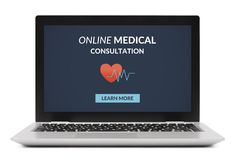 Online medical consultation concept on laptop computer screen. Isolated on white background. All screen content is designed by me Stock Photo