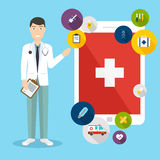 Online medical consultation concept. Vector modern creative flat Stock Photos