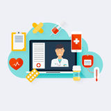 Online medical consultation concept. Vector modern creative flat Royalty Free Stock Photo