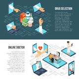 Online Medical Diagnosis Isometric Banners Stock Images