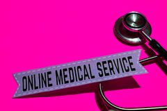 Online Medical Service on the print paper with medicare Concept stock images