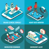 Online medical services vector flat isometric poster set Royalty Free Stock Photos