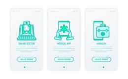 Online-medicin, telemedicine, medicinska appsymboler vektor illustrationer