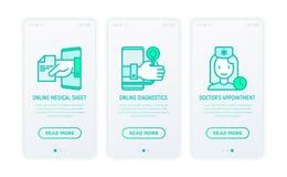 Online-medicin, tunn linje symboler för telemedicine royaltyfri illustrationer