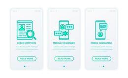 Online-medicin, tunn linje symboler för telemedicine stock illustrationer