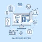Online-medicinbegrepp Arkivbild