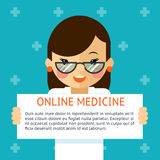 Online medicine banner. Woman doctor shows text Stock Images