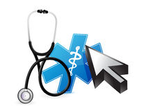 Online medicine concept with a Stethoscope Stock Photos