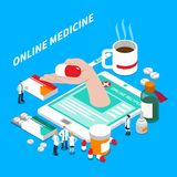 Online Medicine Isometric Composition Royalty Free Stock Photography