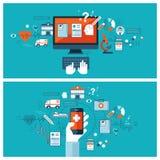 Online-medicinsk diagnos och behandling Arkivfoton
