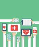 Online-medicinsk diagnos och behandling stock illustrationer