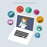 Online-medicinsk konsultation Arkivfoton