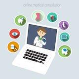 Online-medicinsk konsultation Fotografering för Bildbyråer