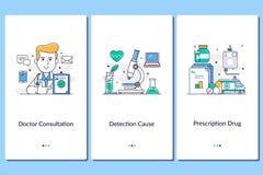 Online-medicinsk service, mobila medicinska apps Doktor sjuksköterska, klinik, behandling, anamnes Momentdiagram för medicinsk se stock illustrationer