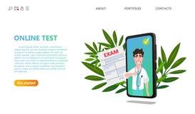 Online medische de Gezondheidszorgtechnologie van de examentest vector illustratie