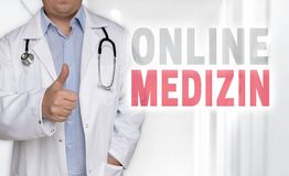 Online Medizin in german online medicine concept and doctor wi. Th thumbs up stock photography