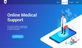 Online medycznego poparcia 3d szablon ilustracji