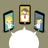 Online meeting. Three businessman online meeting from smartphone or tablet channel Royalty Free Stock Image