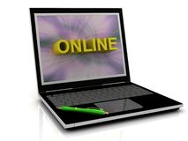 ONLINE message on laptop screen Stock Photo