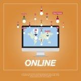Online miasto, ludzie komunikuje w sieci ilustracja wektor