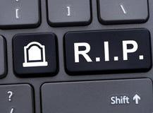 Online-minnes- begrepp med R I P abby Royaltyfria Foton