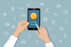 Online mobiele betaling, de dienst van de geldoverdracht Betaal voor goederen en diensten door cashless betalingen Hand die een t Royalty-vrije Stock Afbeeldingen