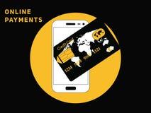 Online-mobil betalning med kreditkorten royaltyfri illustrationer
