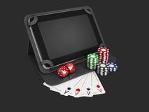 Online-mobil kasino Minnestavla med chiper, kort och mynt isolerad svart, illustration 3d Royaltyfria Bilder