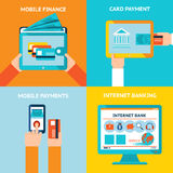 Online and mobile banking. Online banking and mobile banking. Internet business, technology and finance, bank and payment, vector illustration Royalty Free Stock Photo