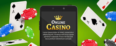 Online mobile casino background. Poker app online concept. Smart phone with chips, cards Stock Photo