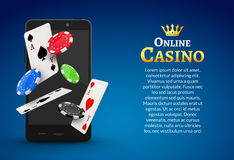 Online mobile casino background. Poker app online concept.  Royalty Free Stock Images