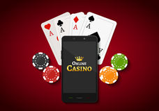 Online mobile casino background. Poker app online concept Royalty Free Stock Image