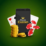 Online mobile casino background. Poker app online concept.  Royalty Free Stock Photography