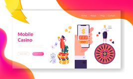 Online Mobile Casino Gambling Concept Landing Page. Female Win Fortune Game. People Play Roulette or Blackjack Lucky. Concept Website or Web Page. Flat Cartoon royalty free illustration