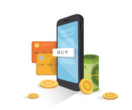 Online mobile payment concept.Internet banking, Mobile wallet.mobile phone with credit card, money, and coins. Internet banking, Mobile wallet.mobile phone with Royalty Free Stock Image